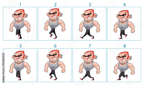 Walking animation of a cartoon angry character in 8 frames in lo ...