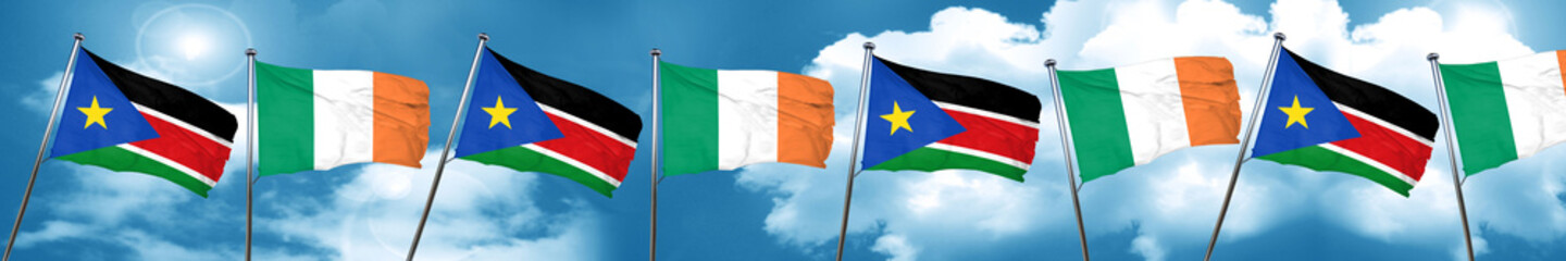 south sudan flag with Ireland flag, 3D rendering