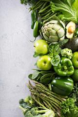 Keuken foto achterwand Keuken Variety of green vegetables and fruits