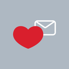 happy valentine's day heart with envelope