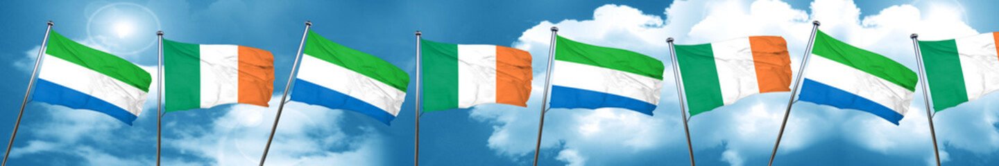 Sierra Leone flag with Ireland flag, 3D rendering