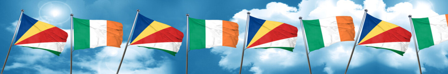 seychelles flag with Ireland flag, 3D rendering