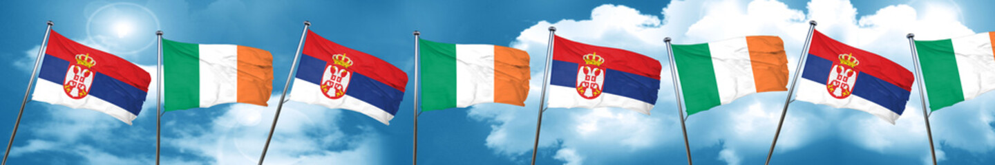 Serbia flag with Ireland flag, 3D rendering