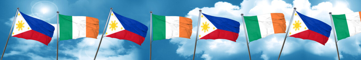 Philippines flag with Ireland flag, 3D rendering