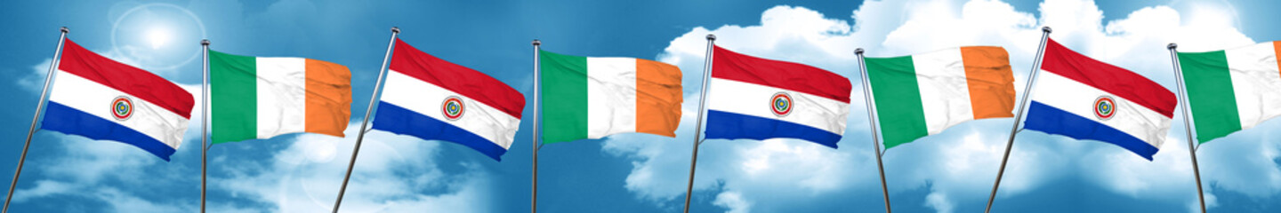 Paraguay flag with Ireland flag, 3D rendering