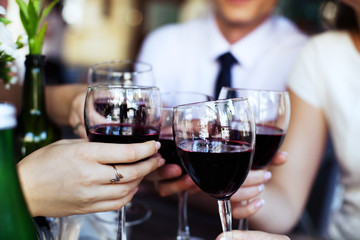 Glasses of red wine. The concept of party and celebration.
