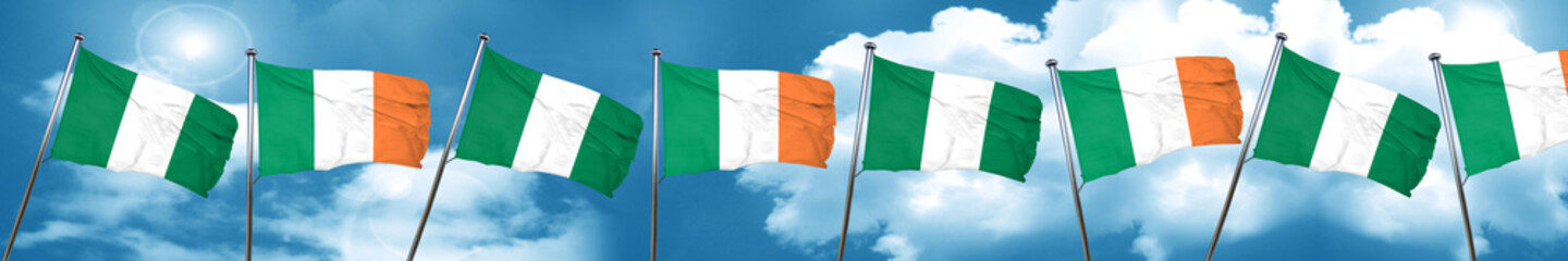 Nigeria flag with Ireland flag, 3D rendering