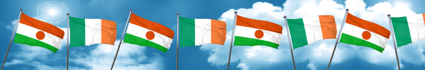 niger flag with Ireland flag, 3D rendering