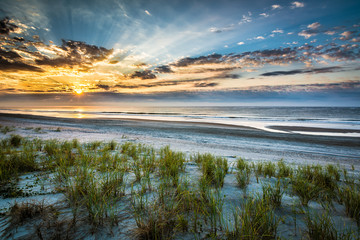 Emerald Isle Sunrise with Streaking Sunlight