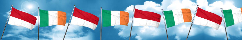 monaco flag with Ireland flag, 3D rendering