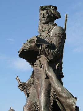 Statue of explorers Lewis and Clark at the end of the trail in Seaside Oregon