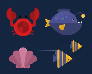Vector cartoon illustration of cute crab character.