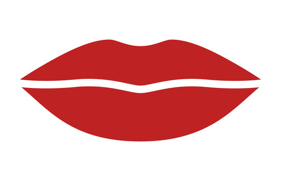 Red female lips for kissing / kiss flat vector icon for apps and websites
