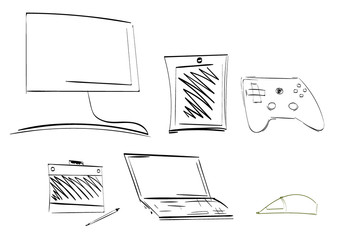 Vector set of flat style devices in monochrome. Collection of hand drawn gadget icons with notebook, mouse, tablet, game pad, tablet, computer laptop, monitor