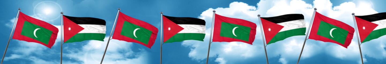 Maldives flag with Jordan flag, 3D rendering