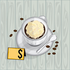foods objects coffee Whipped cream drawing graphic  design