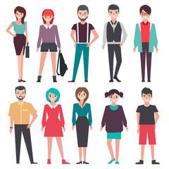 people. set. flat vector illustration