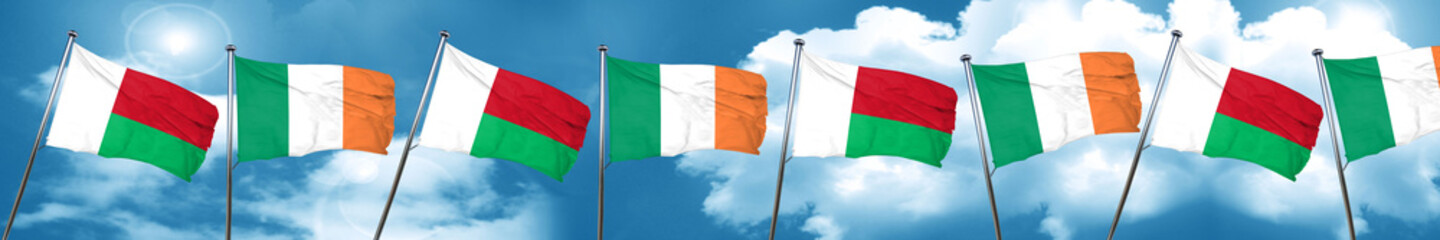 Madagascar flag with Ireland flag, 3D rendering