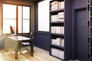 Home library with a desk, black, side view, toned