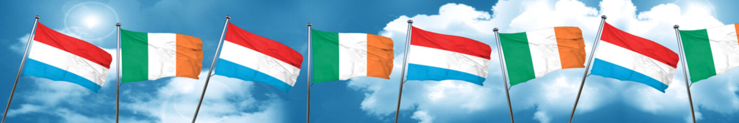 Luxembourg flag with Ireland flag, 3D rendering