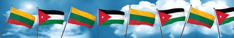 Lithuania flag with Jordan flag, 3D rendering