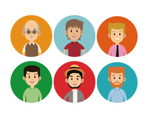 man faces different circle icons vector illustration eps 10