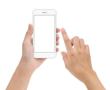hand touching phone mobile screen isolated on white, mock up sma