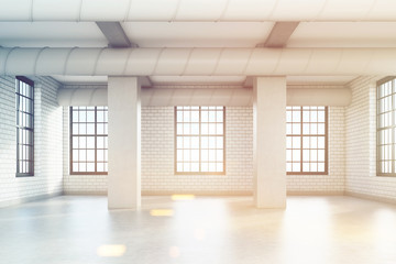 Empty loft room with columns, toned