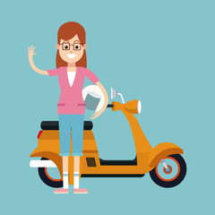 fun woman glasses and motorcycle helmet vector illustration eps 10