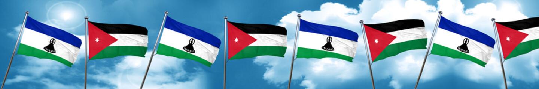 Lesotho flag with Jordan flag, 3D rendering
