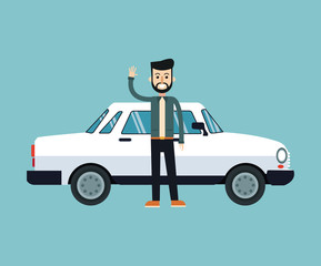 man beard hairstyle standing white car vector illustration eps 10