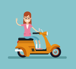 woman smile glasses riding scooter vector illustration eps 10