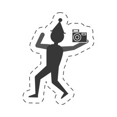 man take a picture icon design, vector illustration