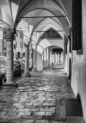 Detail of the arcades of the medieval town of Montagnana.
