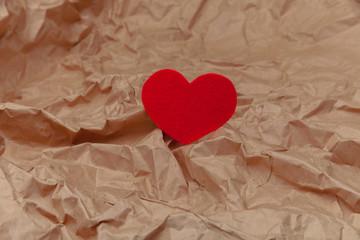 red heart white paper. love card. Valentine's Day postcard. hear