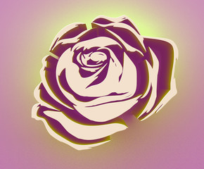rose illustration banner logo tattoo