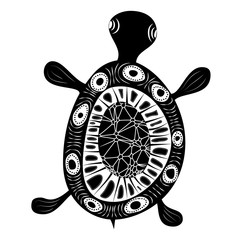 Petroglyphic Turtle - vector illustration