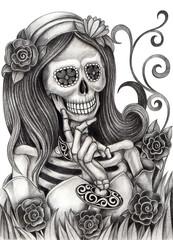 Skull art day of the dead. Art design women skull smiley face day of the dead festival hand pencil drawing on paper.