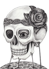 Skull surreal. Art design skull head surreal fantasy hand pencil drawing on paper.