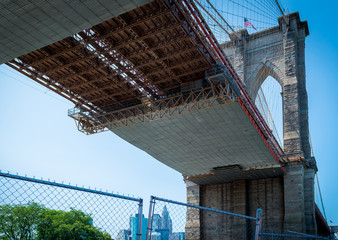 View from under the Brooklyn Bridge under construction