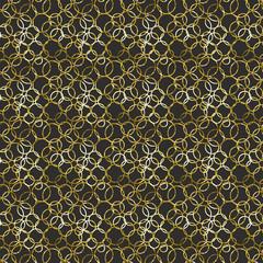 Black and Gold Circle rings Pattern