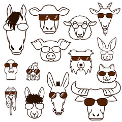 farm animal faces with glasses set, line art
