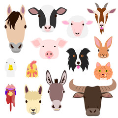 cute farm animal faces set