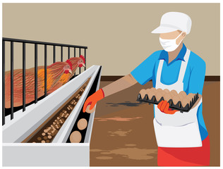 Agriculturist in chicken farm vector design