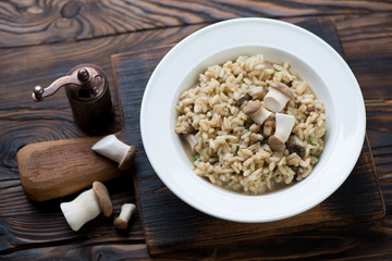 Porcini risotto in a glass plate, rustic wooden setting