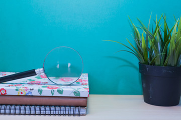 Green Plant,Books and magnifier glass on wooden table with copy space.Green background.