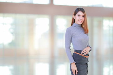 Asian people young businesswoman standing, The beautiful model business women space background
