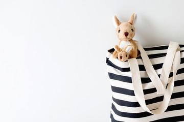 Kangaroo in black & white color cotton bag ,Kangaroo go to travel in around the world