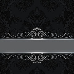 Black vintage background with elegant border and patterns.