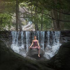 serenity and yoga practicing at Paradise waterfall, koh Phangan island,Thailand